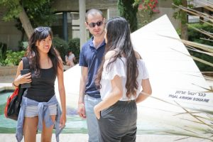 Rothberg students outside on HebrewU campus